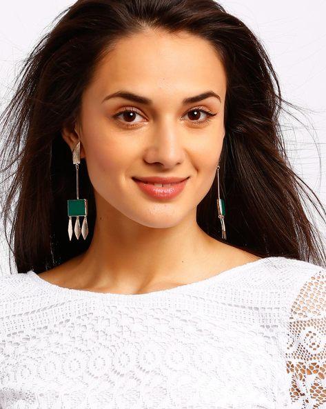 Gold-Plated Drop Earrings By Ssoul ( Darkgreen ) - 460008516001