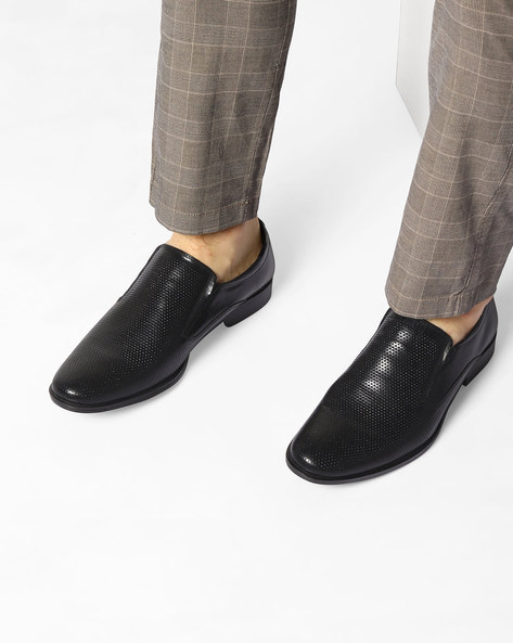 Genuine Leather Textured Slip-On Shoes By RED TAPE ( Black )