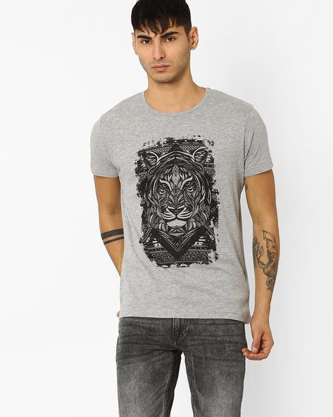 Graphic Print Slim Fit T-shirt By ADAMO LONDON ( Greymelange )