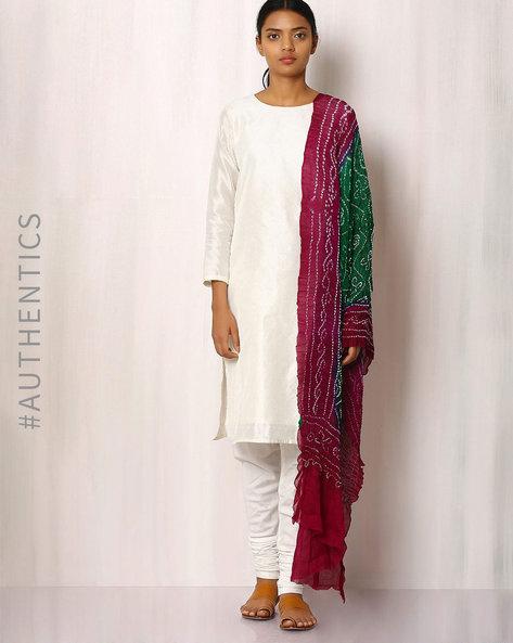 Pure Silk Crepe Bandhini Dupatta By Rudrakaashe-MSU ( Green ) - 460018594001