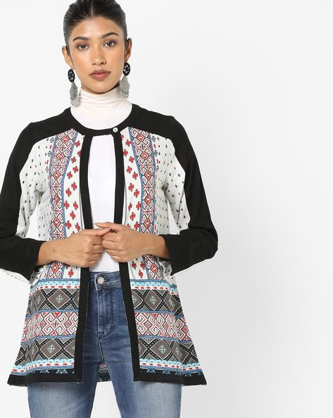 Geometric Print Jacket With Button Closure By Global Desi ( Offwhite )