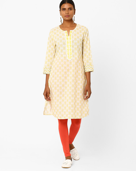 Printed Kurta With Embroidery By AJIO ( Offwhite )