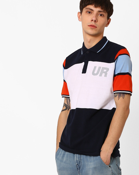 Slim Fit Colourblock Polo T-shirt By Lee ( White )