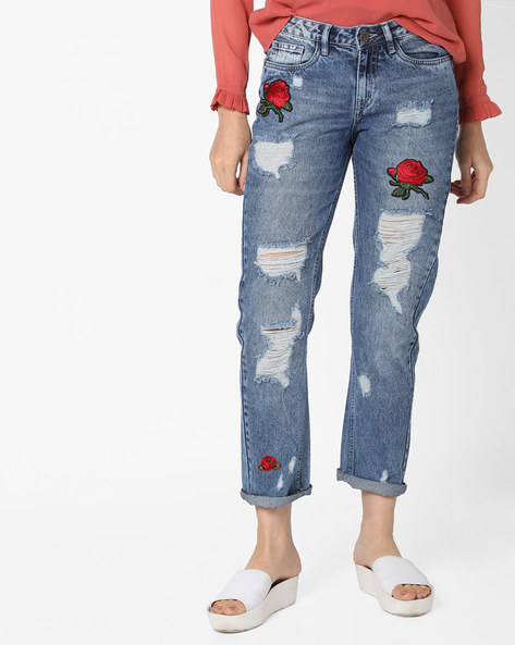 Heavily Distressed Cropped Jeans By AJIO ( Lightblue )
