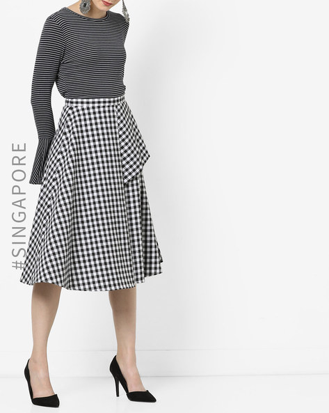 A-line Skirt With Asymmetrical Overlay By MDS ( Blackwhite )
