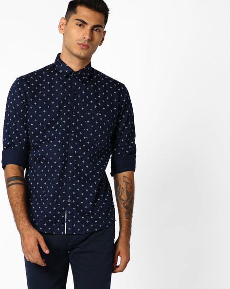 Printed Shirt With Patch Pocket By Killer ( Navy )