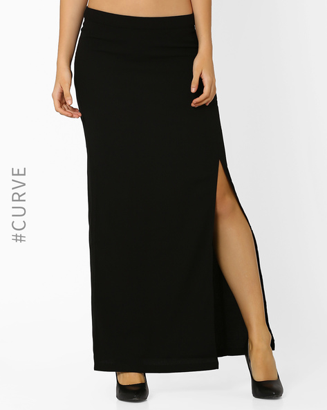 Maxi Skirt With Side Slit By AJIO ( Black )