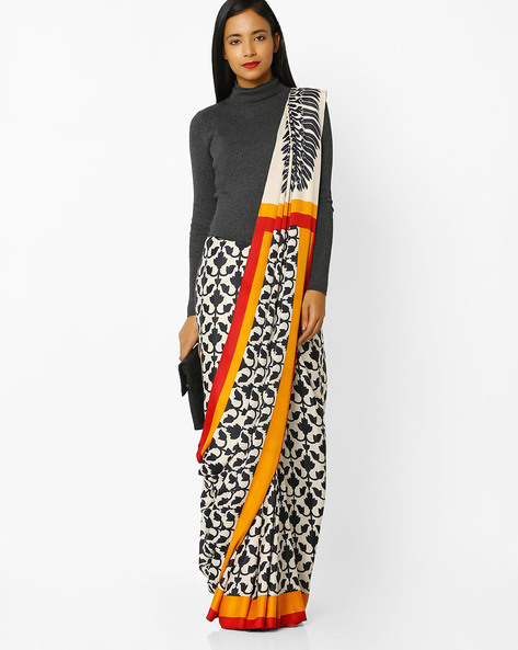 Printed Saree With Blouse By Florence ( White )