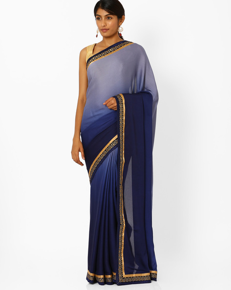 Embroidered Crepe Jacquard Ombre-Dyed Saree By Majestic Silk ( Indigo )