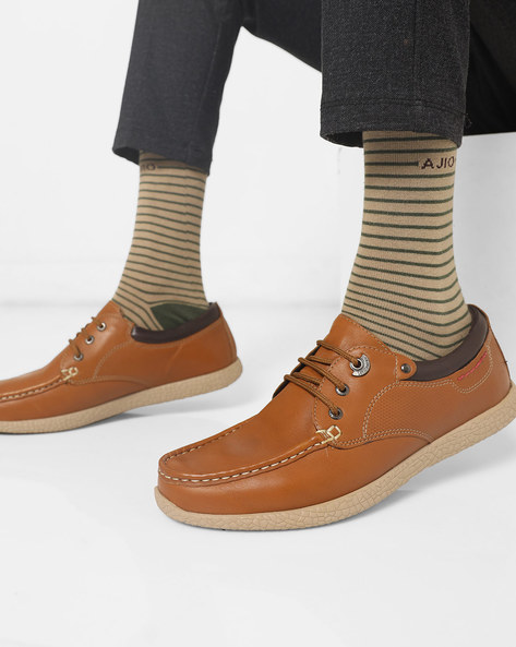Mid-Top Lace-Up Casual Shoes By Lee Cooper ( Tan )
