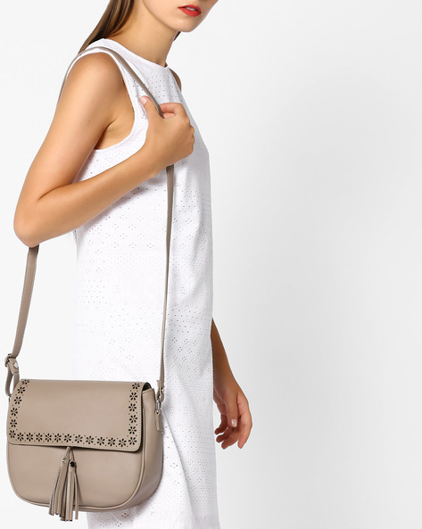 Sling Bag With Tassels By AJIO ( Beige )