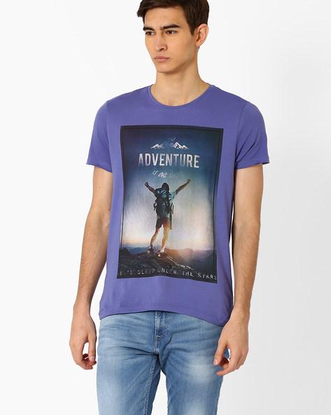 Graphic Print Cotton T-shirt By AJIO ( Dkblue )