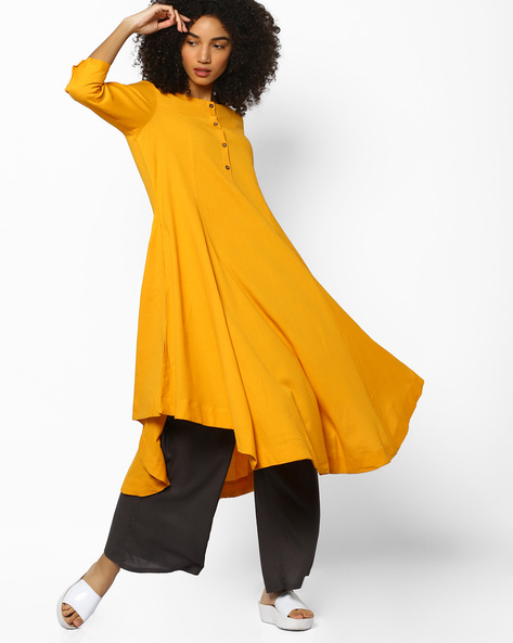 Flared Kurta With Asymmetric Hem By Project Eve IW Casual ( Mustard )