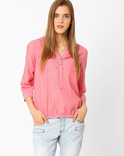 Popover Shirt With Elasticated Hem By FIG ( Pink )