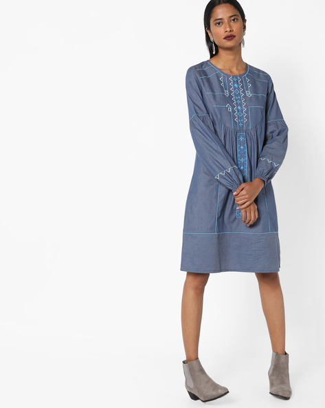 Panelled Shift Dress With Embroidery By AJIO ( Indigo )