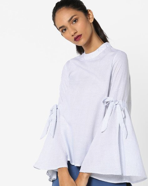 Printed Top With Bell Sleeves By AJIO ( White )
