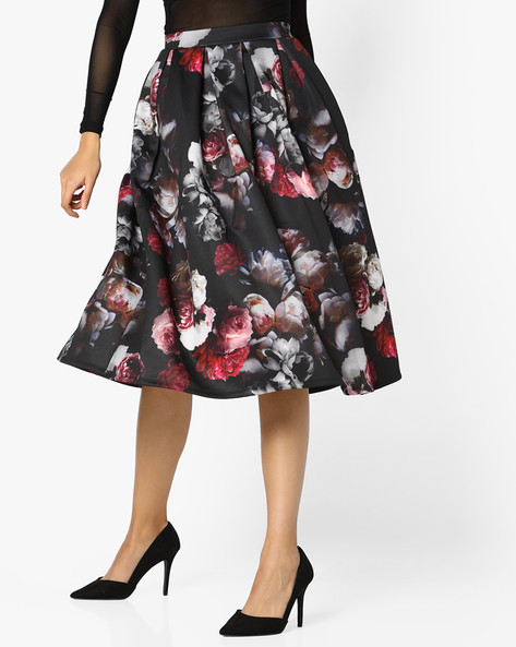 Floral Print Pleated Skirt By PE WW Evening ( Black )