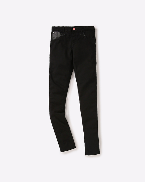 Cotton Jeans With Belt Loops By GINI & JONY ( Black )