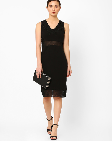 Sleeveless Sheath Dress With Embroidery By AJIO ( Black )