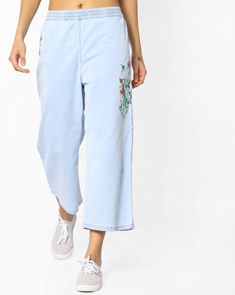 Jeans With Elasticated Waist By AJIO ( Lightblue )