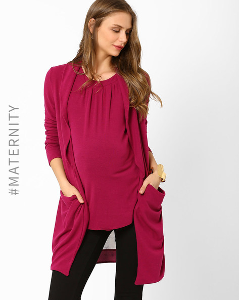 Maternity Waterfall Shrug By AJIO ( Purple )
