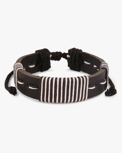 Thread-Woven Faux Leather Bracelet By ALPHA MAN ( Multicolor ) - 460068295001