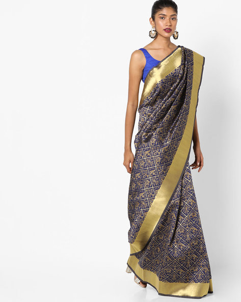 Banarasi Art Silk Zari Woven Saree By Parmita ( Navyblue )