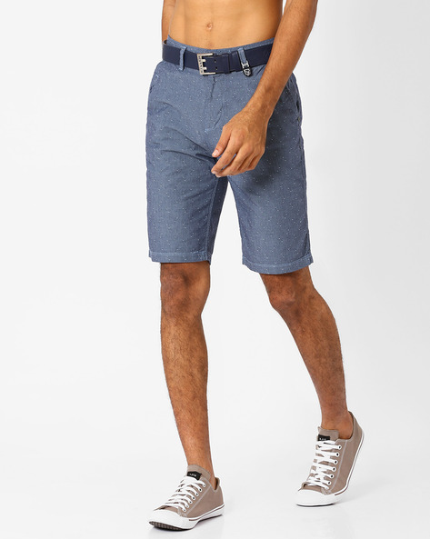 Printed Cotton Slim Fit Shorts By Killer ( Blue )