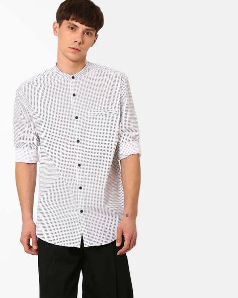 Cotton Polka-Dot Print Shirt By British Club ( White )
