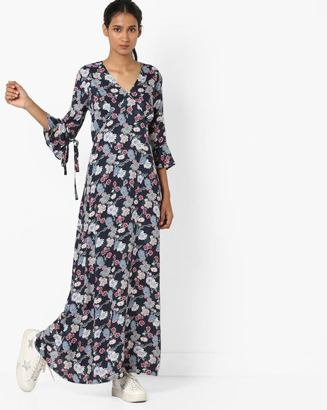Floral Print Maxi Dress With Flounce Sleeves By Femella ( Navyblue )