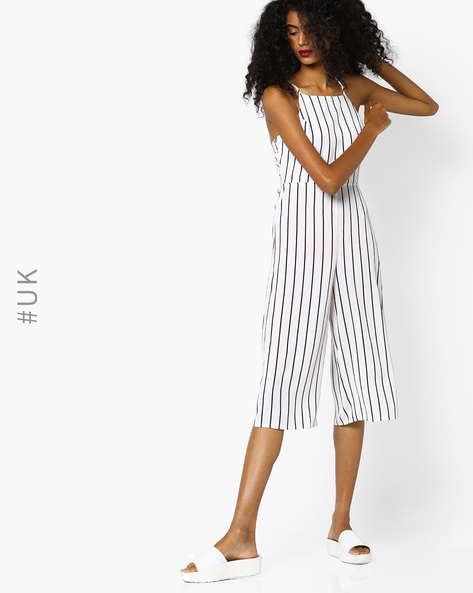 Striped Strappy Jumpsuit By Rare London ( Black )
