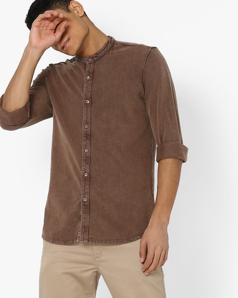 Lightly Washed Slim Denim Shirt By AJIO ( Brown )