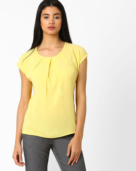 Pleat-Front Top With Cap Sleeves By AJIO ( Yellow )