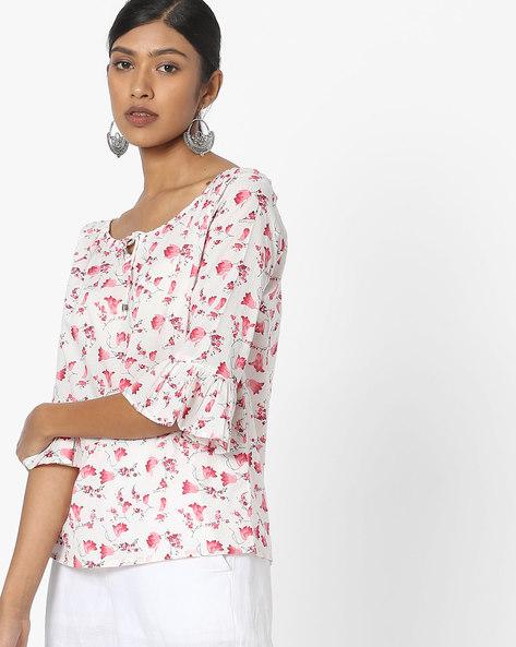 Floral Print Off-Shoulder Top By FIG ( White )