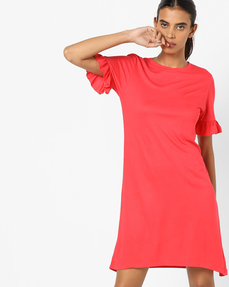 A-line Dress With Ruffled Sleeve Hems By AJIO ( Red )