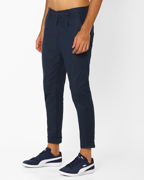Tapered Fit Cropped Trousers By ANTIFERRO ( Navyblue )