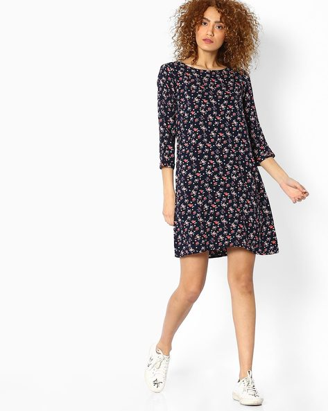 Floral Print Shift Dress By BOSSINI ( Navy )