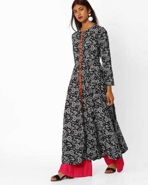 Printed Maxi Dress By Khimsariya ( Black )