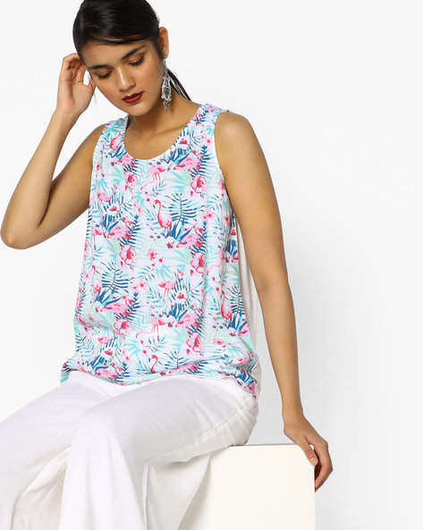 Floral Print Sleeveless Top By PE WW Casual ( Offwhite )