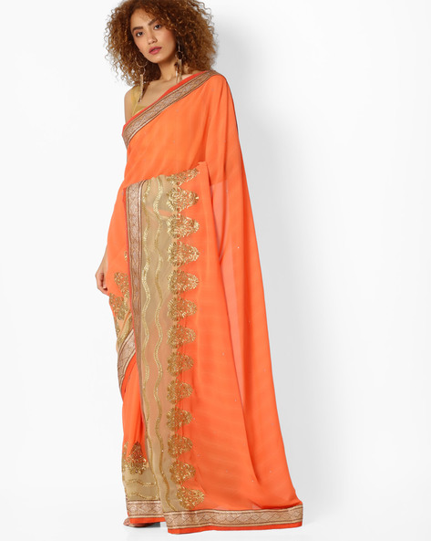Saree With Embroidered Detail By Majestic Silk ( Orange )