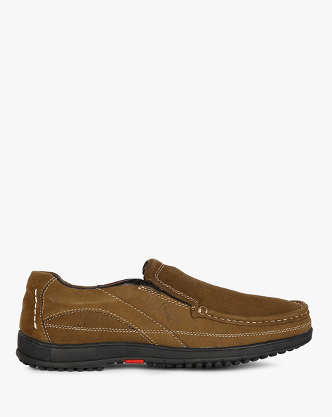Genuine Leather Slip-Ons By Lee Cooper ( Olive )