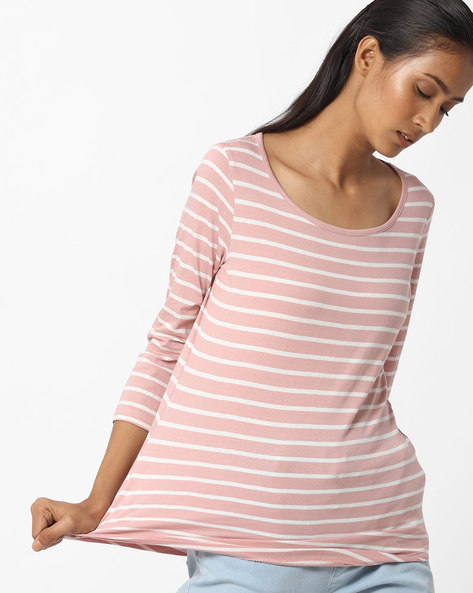 Striped Round-Neck Top By Fame Forever By Lifestyle ( Pink )