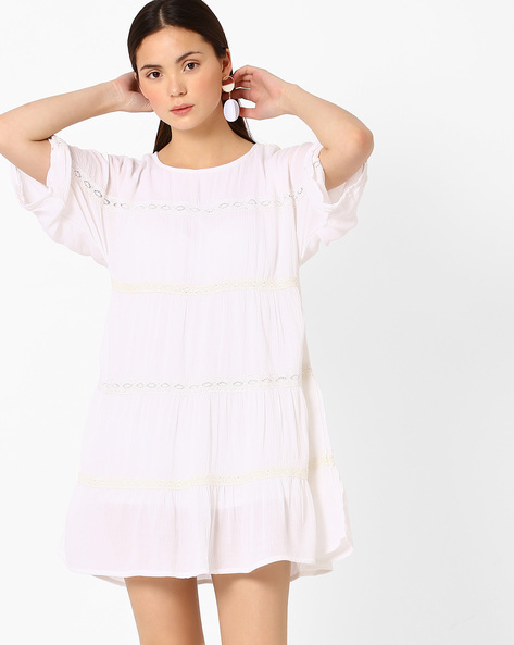Panelled Shift Dress By Vajor ( White )