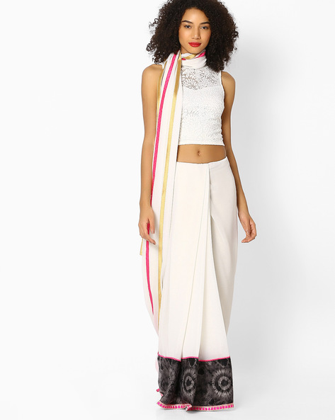 Designer Saree With Contrast Border By Vastrangi ( White )