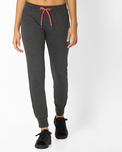 Cotton Joggers With Elasticated Waist By Teamspirit ( Charcoal )
