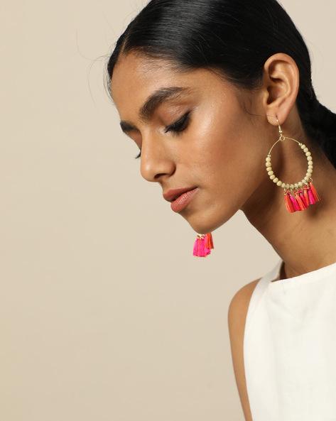 Beaded Dangler Earrings With Tassels By Indie Picks ( Red ) - 460189689001