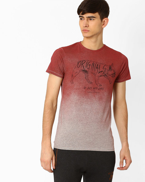 Ombre-Dyed Slim Fit T-shirt By Jack & Jones ( Pink )