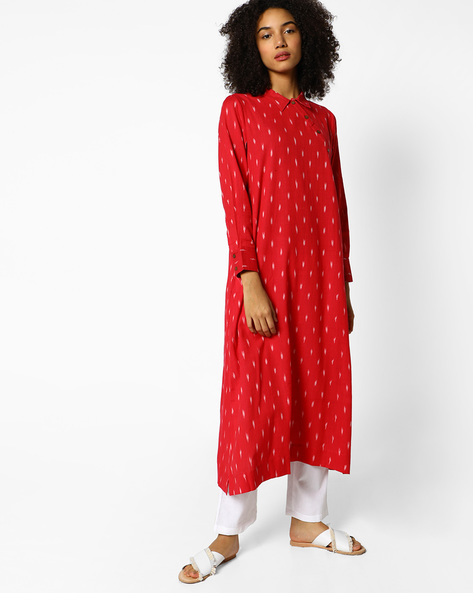 Calf-Length Tunic With Shirt Collar By PE IW Fusion ( Pink )