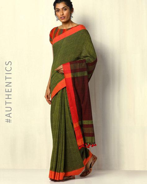 Handloom Bengal Cotton Herringbone Saree With Tassels By Indie Picks ( Green )