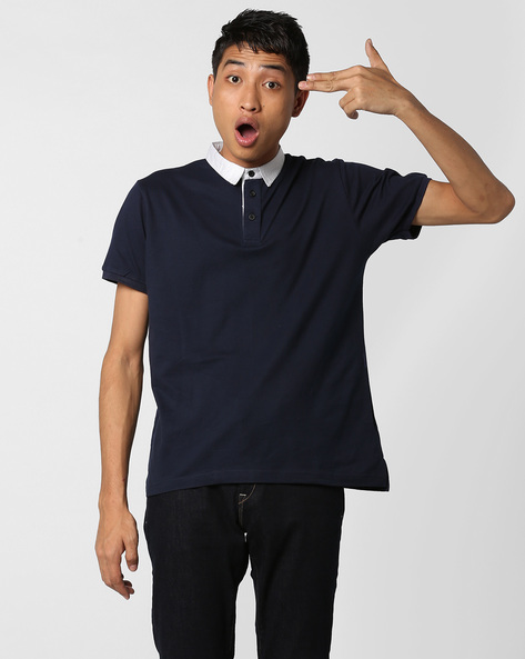 Polo T-shirt With Contrast Collar By DEEZENO ( Navyblue )
